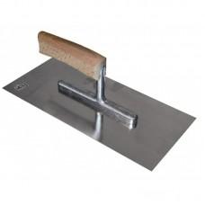Schwan plakspaan 280 x 130 x 0.7 mm - met gebogen houten handgreep - inox