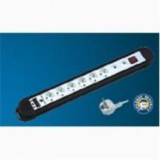 STEKKERBLOK MET 6 STOPCONTACTEN -  SCHAKELAAR EN KABEL 1,5 M - WHITE/BLACK